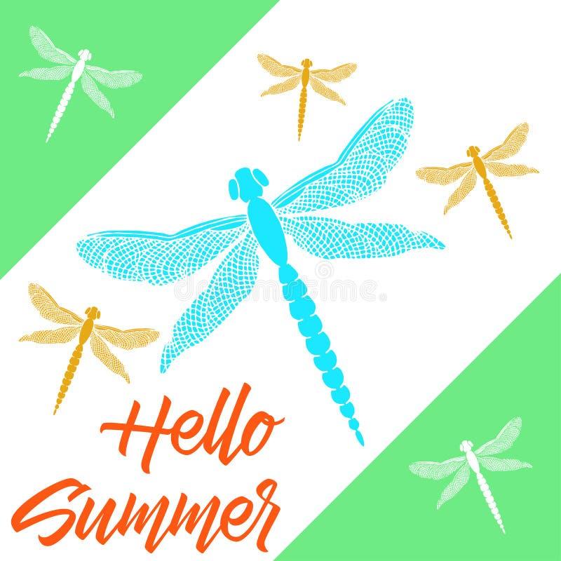 Piękni dragonflies z kolorowymi skrzydłami Karty lato Cześć royalty ilustracja