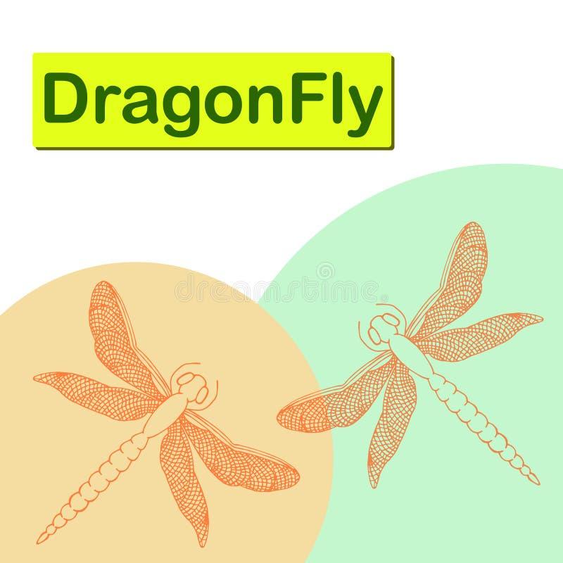 Piękni dragonflies z znakiem Ręka rysująca wektorowa ilustracja ilustracji