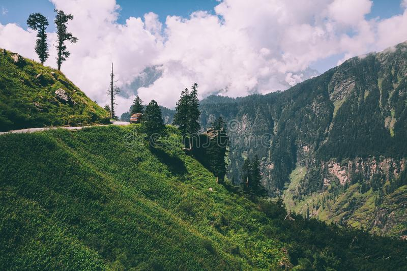 piękni drzewa i droga z samochodem w scenicznych górach, Indiańscy himalaje, Rohtang obraz stock