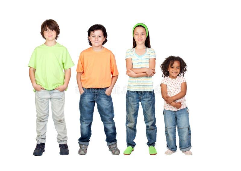 piękni dzieci różni cztery obrazy royalty free