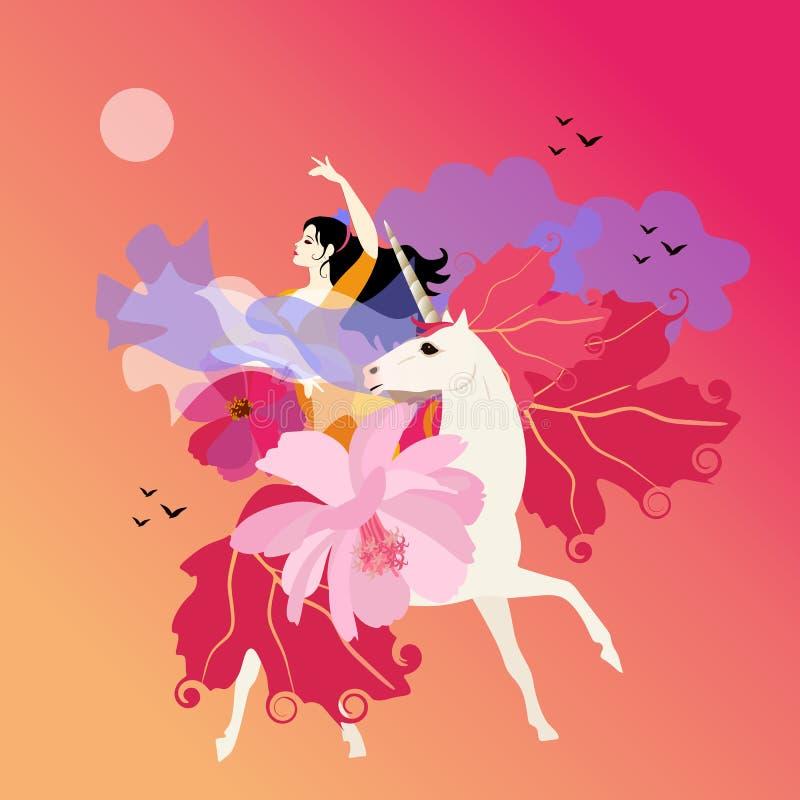 Piękni dziewczyna chwyty w jej ręki chuscie w formie latającego ptaka i przejażdżki jednorożec na tle chmury i zmierzchu niebo royalty ilustracja