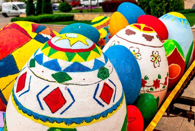 piękni Easter jajka, przygotowanie dla świętowania wielkanoc w Bułgaria zdjęcie royalty free