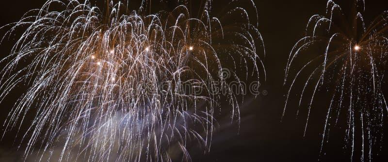 Piękni fajerwerki Na nocnym niebie zdjęcie stock