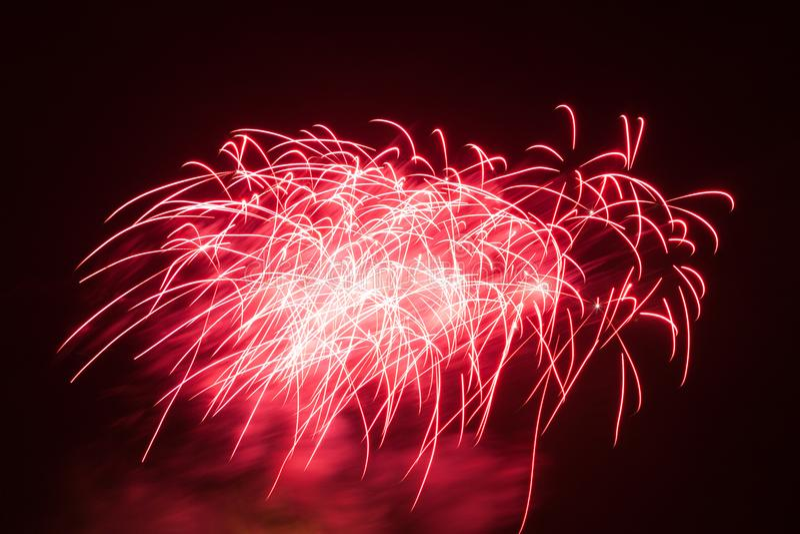 Piękni fajerwerki Na nocnym niebie obraz royalty free
