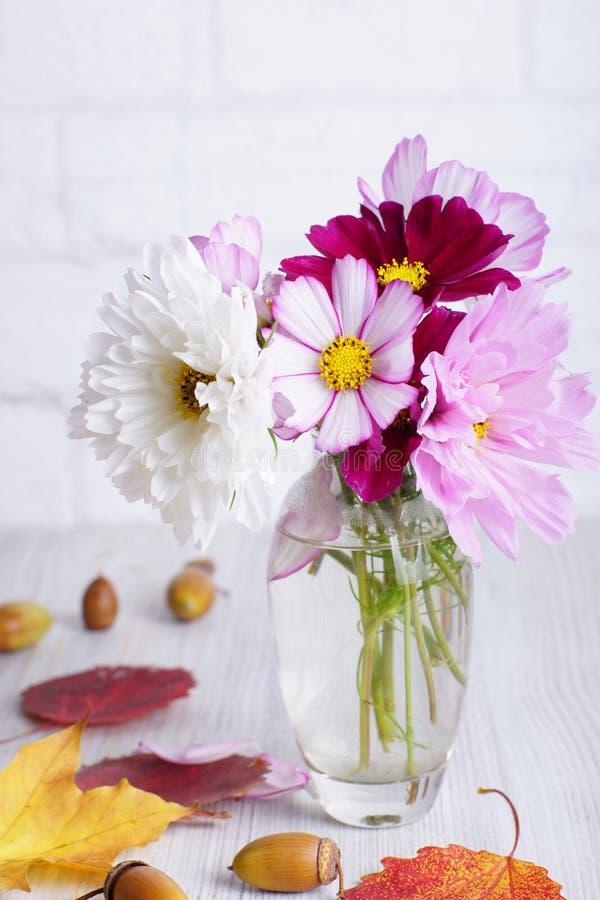 Piękni i delikatni kwiaty w szklanej przejrzystej wazie obok obraz stock