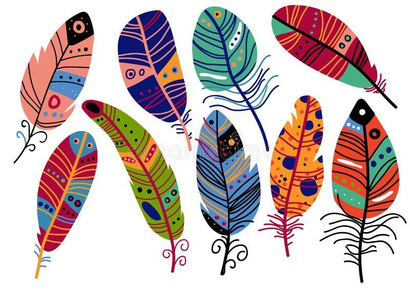 Piękni Jaskrawi Ptasi piórka Malujący w Kolorowych wzorach, dekoracja elementów wektoru ilustracja ilustracji