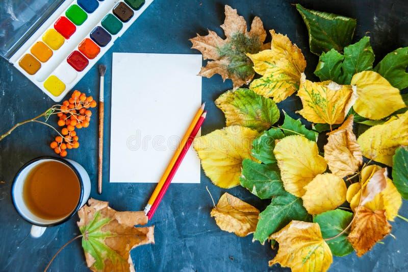 Piękni jesień liście, muśnięcia, farba i prześcieradło na zmroku z powrotem, zdjęcia stock