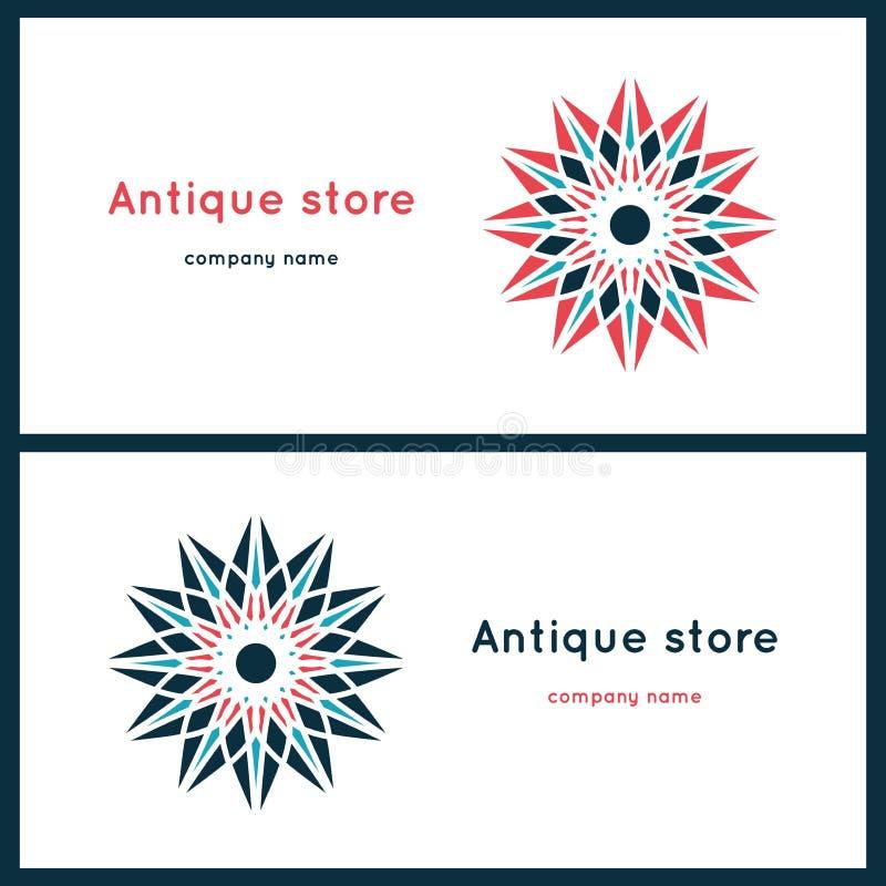 Piękni kółkowi logowie kwiat stylizujący Prosty geometryczny logo royalty ilustracja