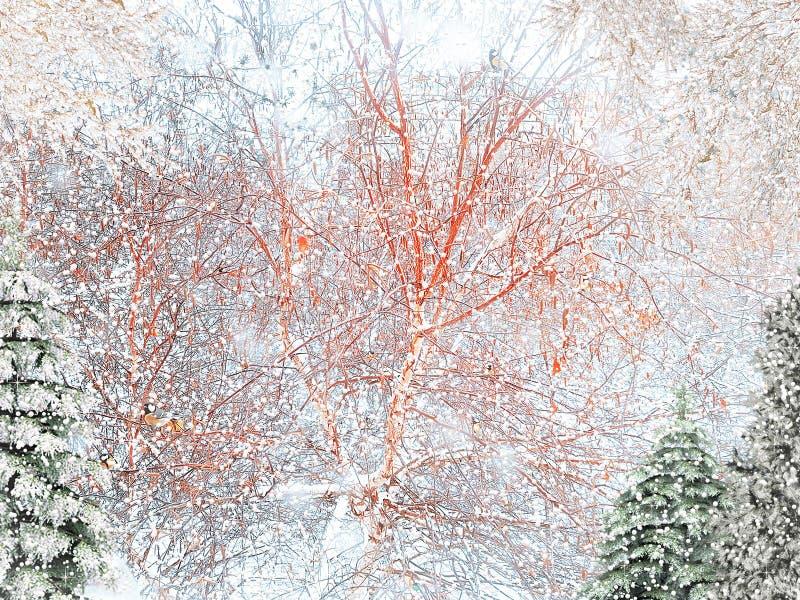 piękni karciani boże narodzenia Zimy karta Opad śniegu, choinki i ptaki, obraz stock