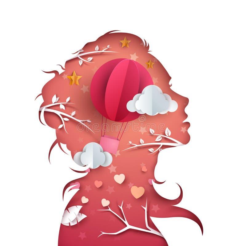 Piękni kobieta charaktery Lotniczego balonu ilustracja ilustracji