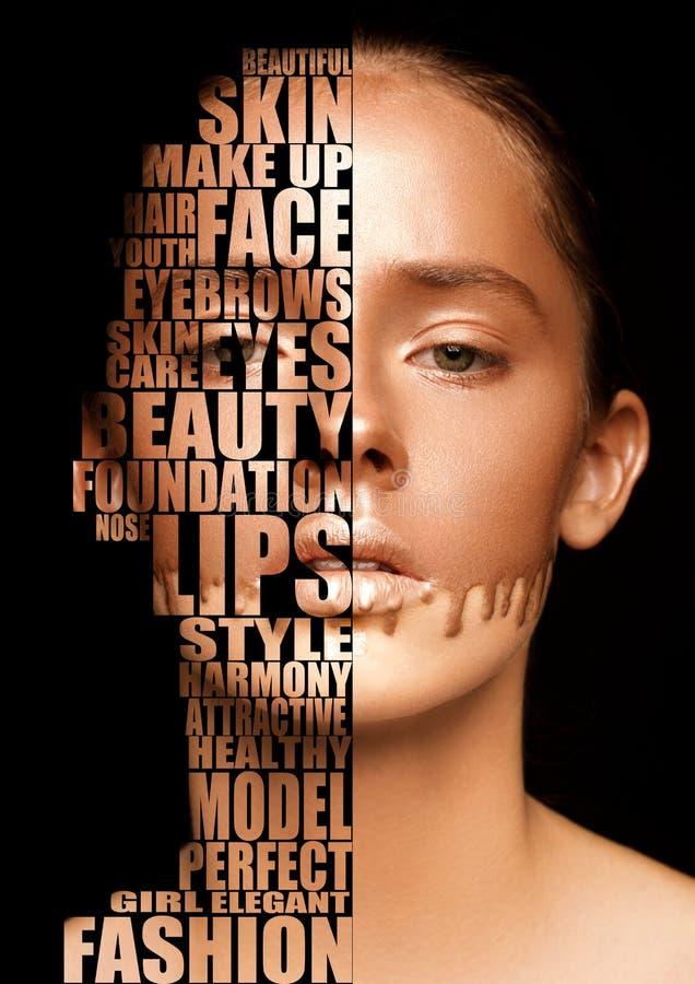Piękni kobieta portreta skincare pojęcia listy zdjęcie stock