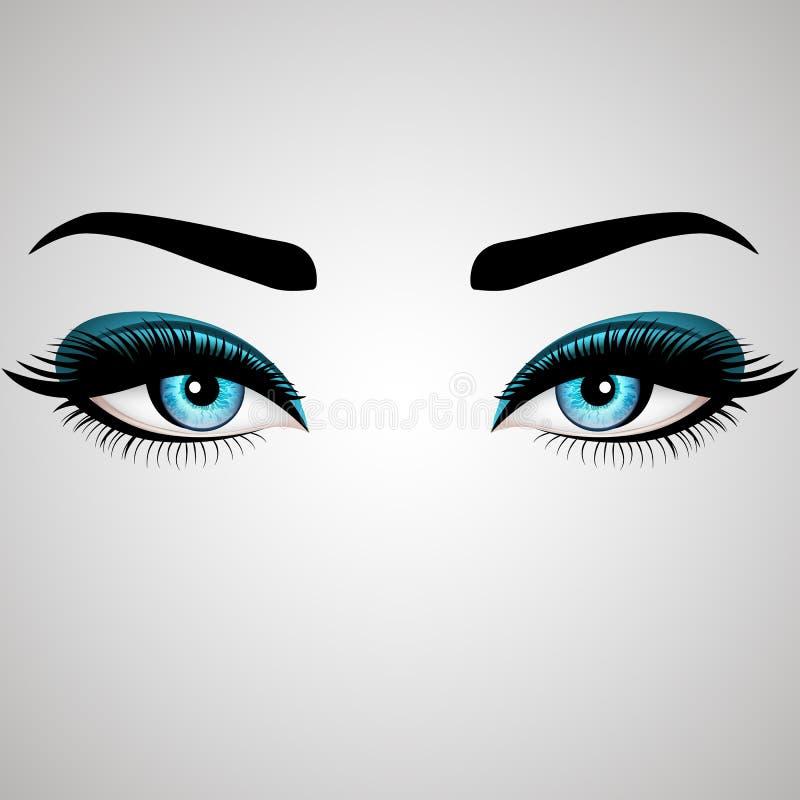 Piękni kobiety ` s oczy również zwrócić corel ilustracji wektora Realistyczni niebieskie oczy z modnymi rzęsami royalty ilustracja