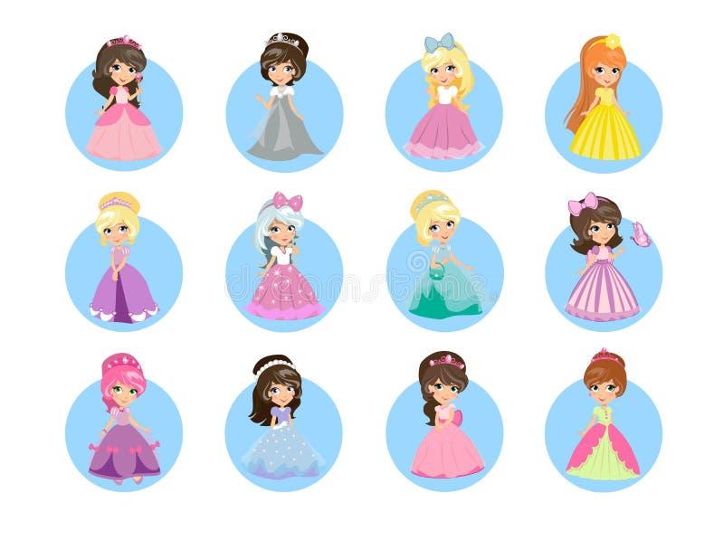 Piękni kreskówek Princesses Płaskie Wektorowe ikony Ustawiać ilustracji