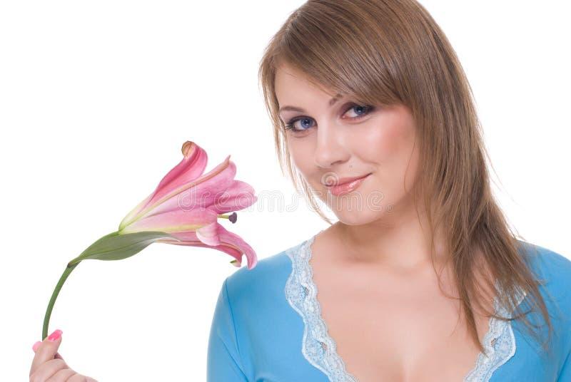 piękni kwiatu portreta kobiety potomstwa obrazy stock