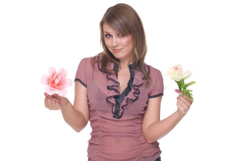 piękni kwiatu portreta kobiety potomstwa obrazy royalty free