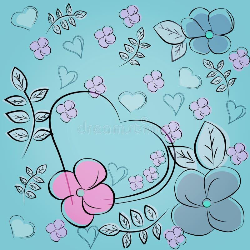 Piękni kwiaty i serce na błękitnym tle świąteczny deseniowy bezszwowy ilustracji