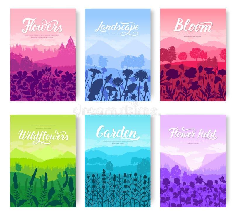 Piękni kwiaty na zbocze góry broszurki wektorowych kartach ustawiać Lato natury szablon flyear, magazyny, plakat royalty ilustracja