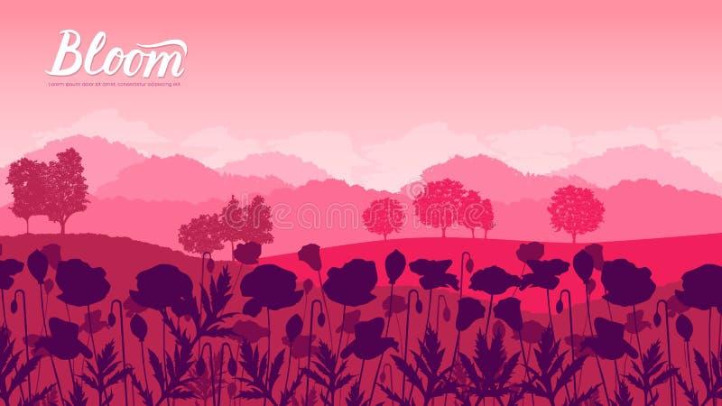Piękni kwiaty na zbocze góry royalty ilustracja