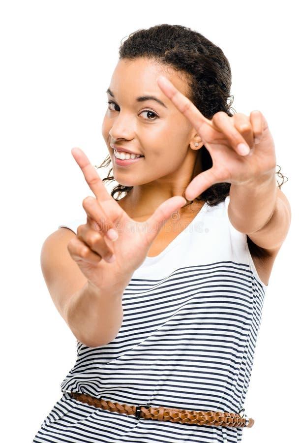 Piękni mieszani biegowi kobiety otoczki fotografii palce odizolowywający obrazy royalty free