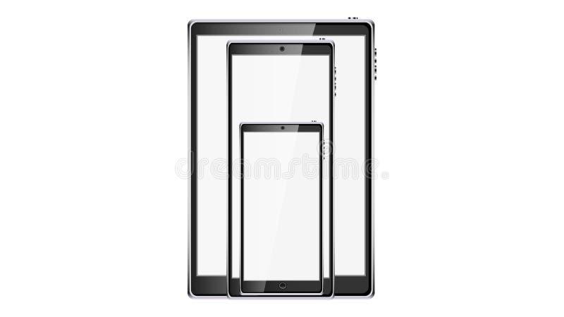 Piękni nowożytni cyfrowi gadżety, realistyczni czarni mądrze ekranów sensorowych telefony komórkowi, smartphones i ekran sensorow ilustracji
