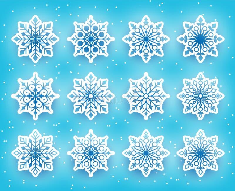 Piękni płatki śniegu Ustawiający dla zima sezonu w Śnieżnym ilustracji