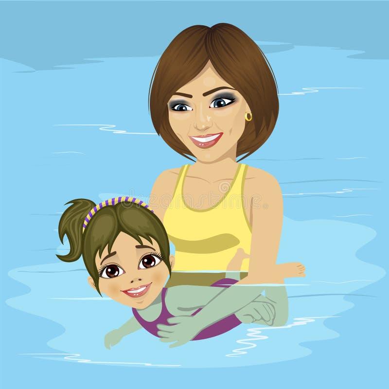 Piękni potomstwa matkują jej małej dziewczynki uczący dlaczego pływać przy pływackim basenem royalty ilustracja