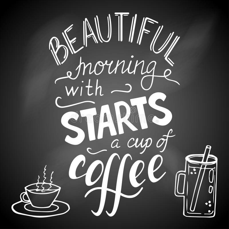 Piękni ranków początki z filiżanką kawy ilustracja wektor