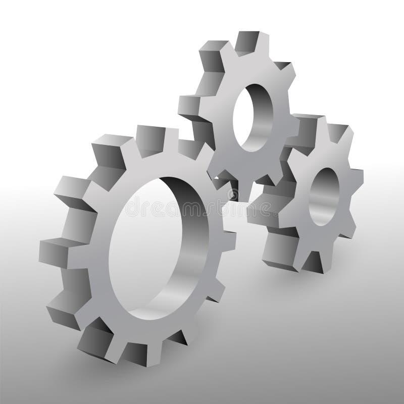Piękni realistyczni 3D metalu cogwheels na białym tle ilustracja wektor