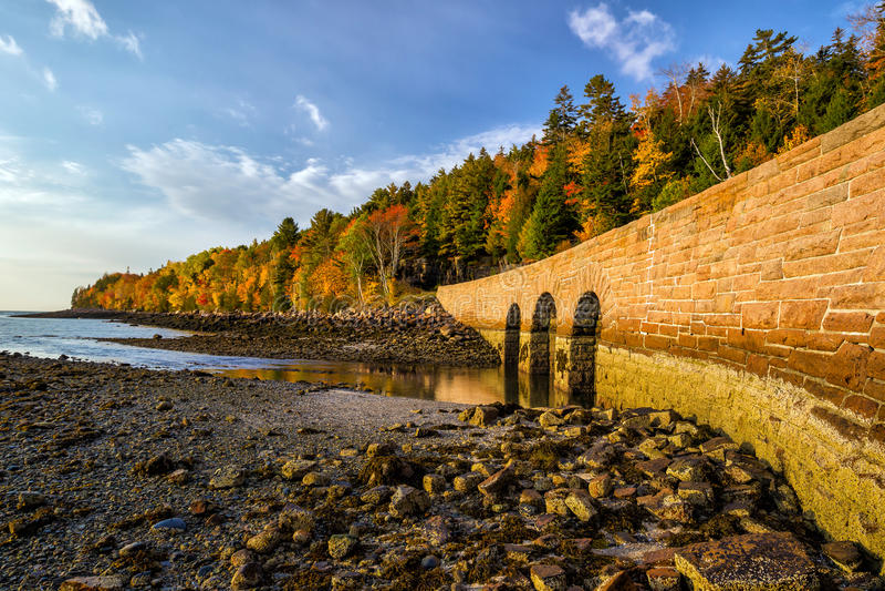 Piękni spadków kolory Acadia park narodowy w Maine obrazy stock