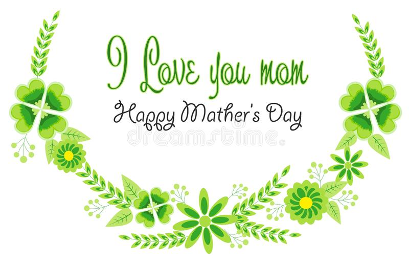 Pi?kni stubarwni kwiaty dla set?w i kart Mother's dnia rama ilustracja wektor