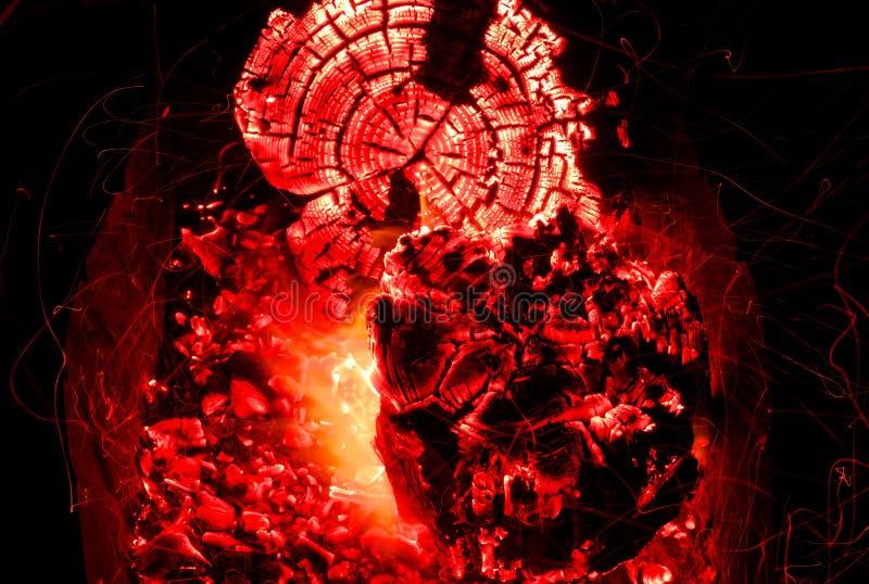 Piękni węgle w grillu zdjęcia stock