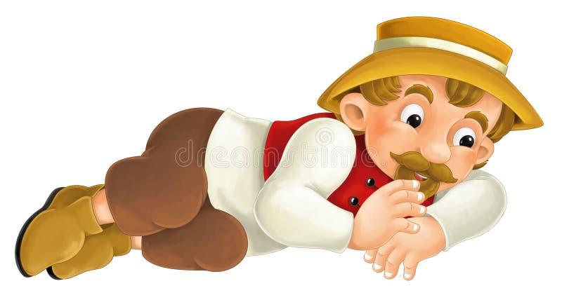 Pięknie barwiony postać z kreskówki - młody człowiek udaje spać - royalty ilustracja