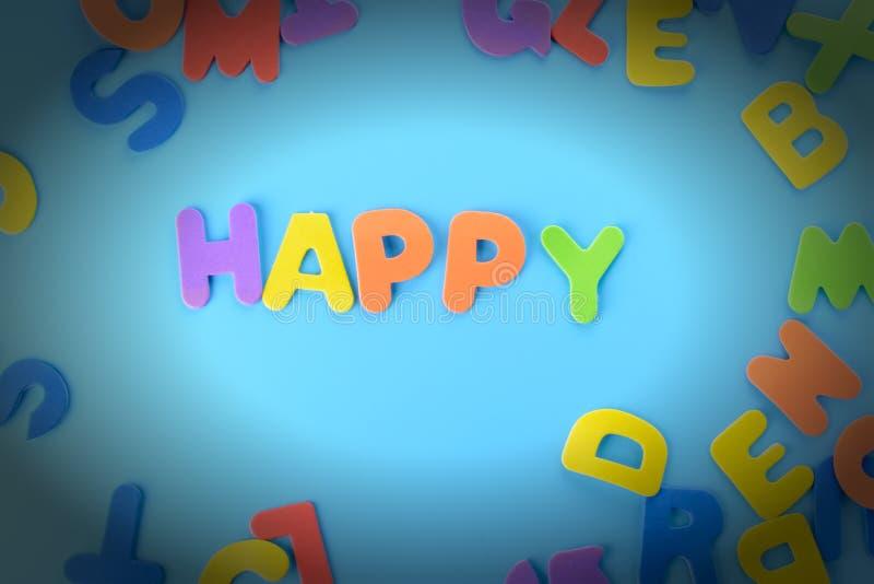 Pięknie kłaść out wpisowy szczęśliwy barwiący listy Tło z winietą obrazy stock