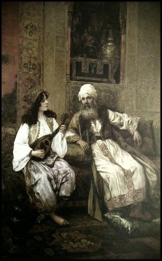 Pięknie malujący obrazek Turecki ojciec i córka royalty ilustracja