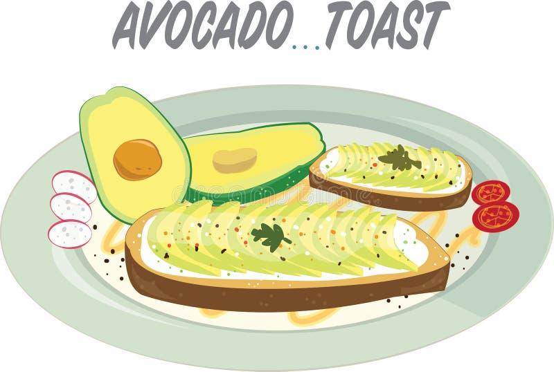 Pięknie matrycująca avocado grzanka z wyśmienicie przyglądającymi polewami royalty ilustracja