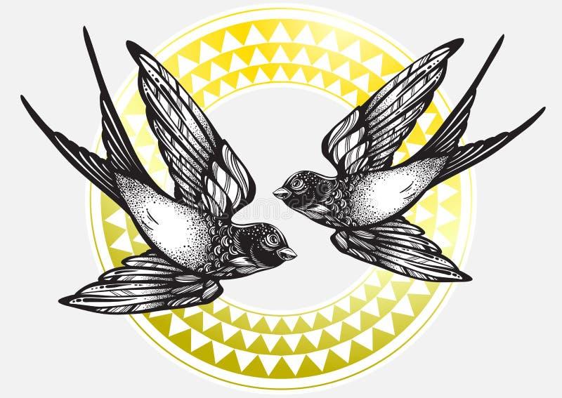 Pięknie szczegółowa rocznik ilustracja z latanie dymówki ptakami nad plemiennym geometrycznym wzorem Wektorowa grafika odizolowyw ilustracja wektor