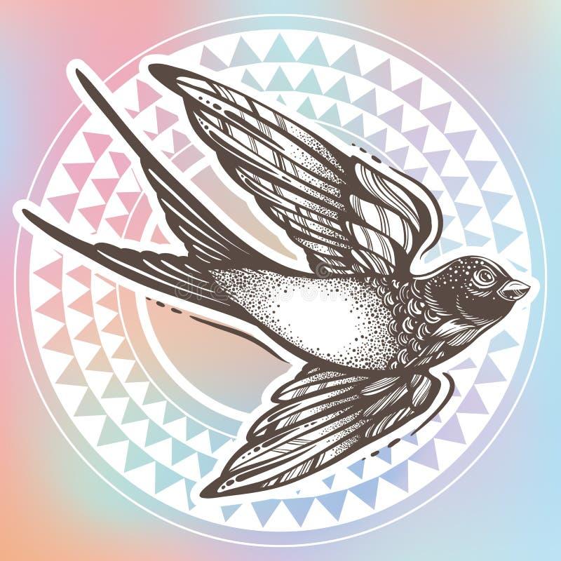 Pięknie szczegółowa rocznik ilustracja z latanie dymówki ptakiem nad plemiennym geometrycznym wzorem Wektorowa grafika odizolowyw ilustracja wektor