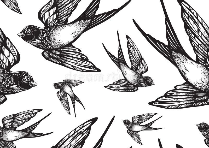 Pięknie szczegółowego rocznika stylu bezszwowy wzór z latanie dymówki ptakami Wektorowa grafika odizolowywająca Elegancka tatuaż  ilustracji