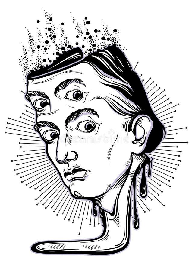 Pięknie szczegółowy gothic portret nadzwyczajny mężczyzna Fantastyczna i szalona ilustracja Psychodeliczna i tajemnicza wektorowa royalty ilustracja