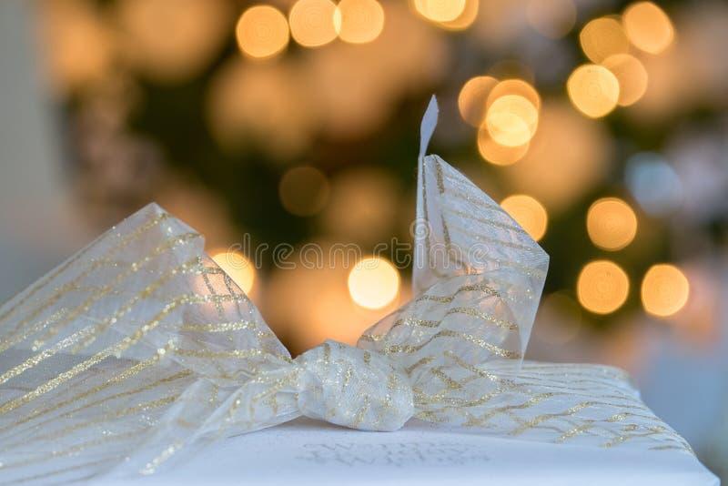 Pięknie zawijać Bożenarodzeniowe wakacje teraźniejszość z pościelą i iść fotografia royalty free