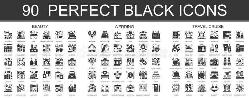 90 piękno, ślub, podróż rejsu pojęcia klasyczni czarni mini symbole Wektorowe nowożytne ikona piktograma ilustracje ustawiać royalty ilustracja