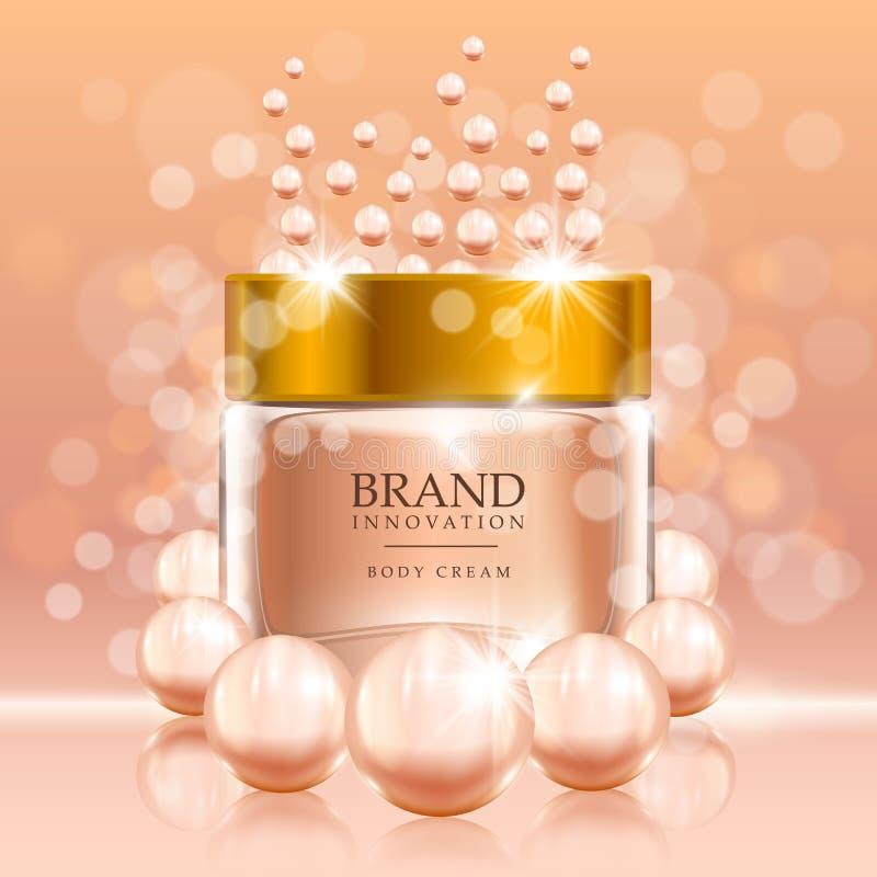 Piękno śmietanka z perłami i bąblami na brzoskwini tle Skóry opieki produktu reklamy pojęcie dla kosmetycznego przemysłu royalty ilustracja