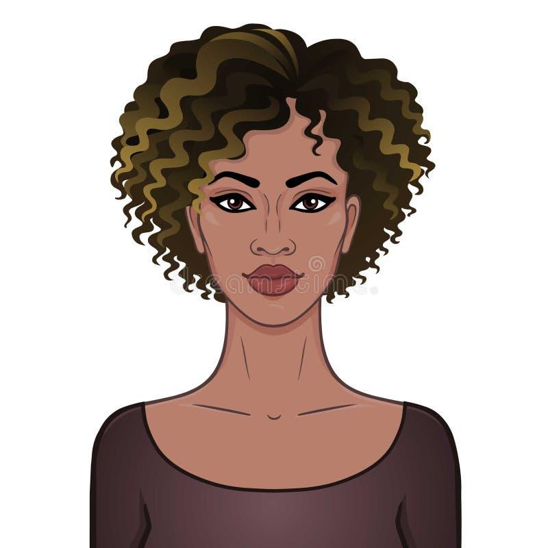 piękno afrykańskiej Animacja portret młoda piękna murzynka z kędzierzawym włosy ilustracja wektor