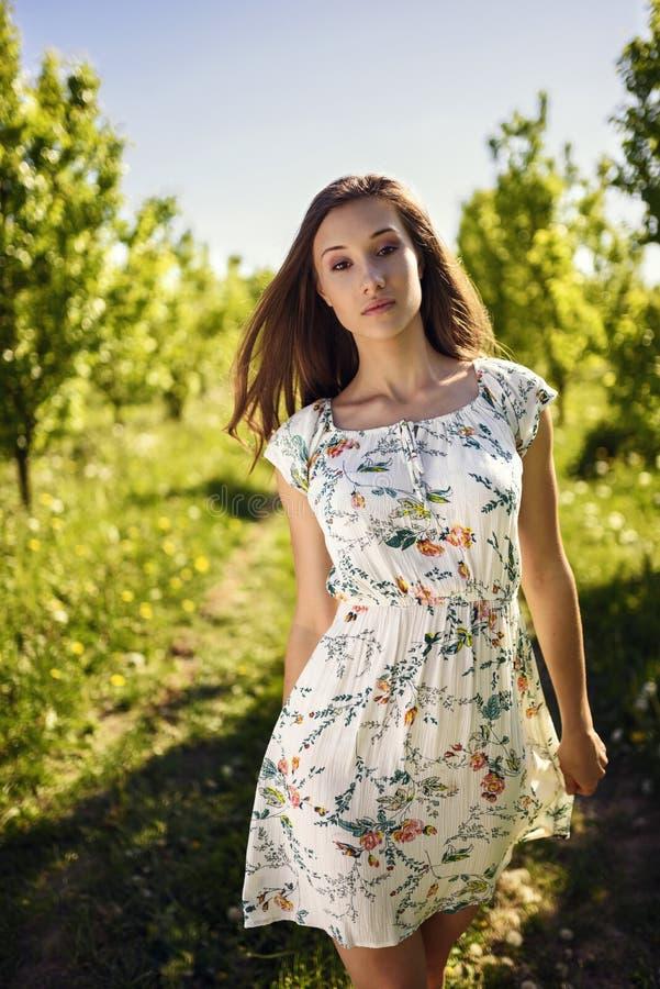 Piękno brunetki model w zieleń ogródzie zdjęcia stock