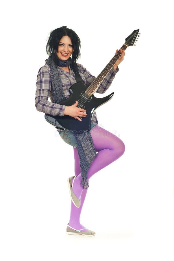 piękno folował gitary długości kobiety zdjęcia royalty free