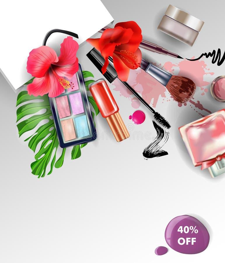 Piękno i kosmetyka tło Lato sprzedaży pojęcie Use dla reklamowej ulotki, sztandar, ulotka wektor royalty ilustracja