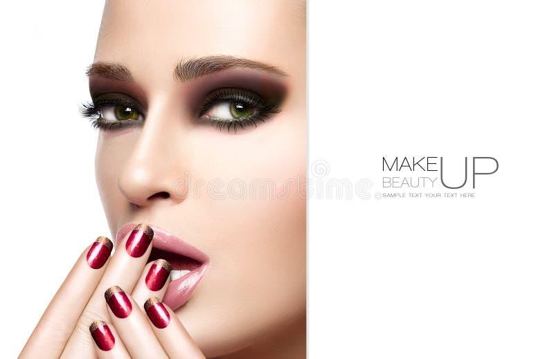 Piękno i makeup pojęcie Jesieni zimy mody makijaż zdjęcie royalty free