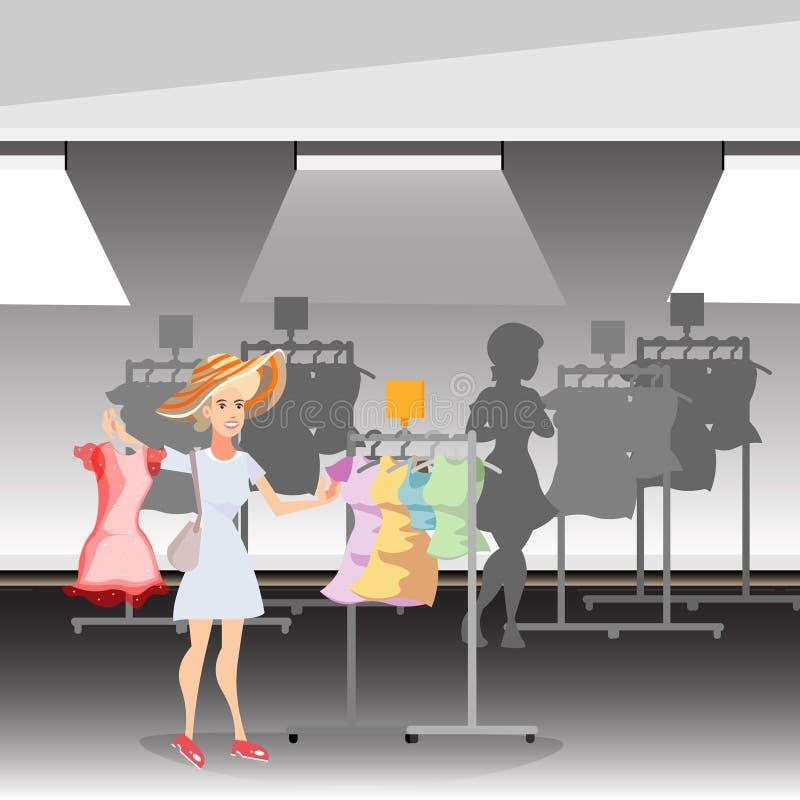 Piękno kobieta z odzieżą w sklepie ilustracji