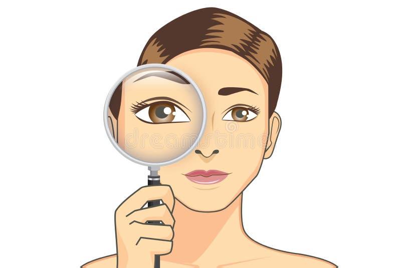 Piękno kobiety mienia powiększać - szkło dla czeka jej oko ilustracji