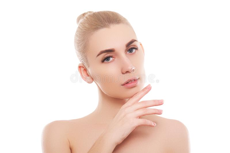Piękno kobiety twarzy portret Piękna zdroju modela dziewczyna z perfect świeżą czystą skórą zdjęcia stock